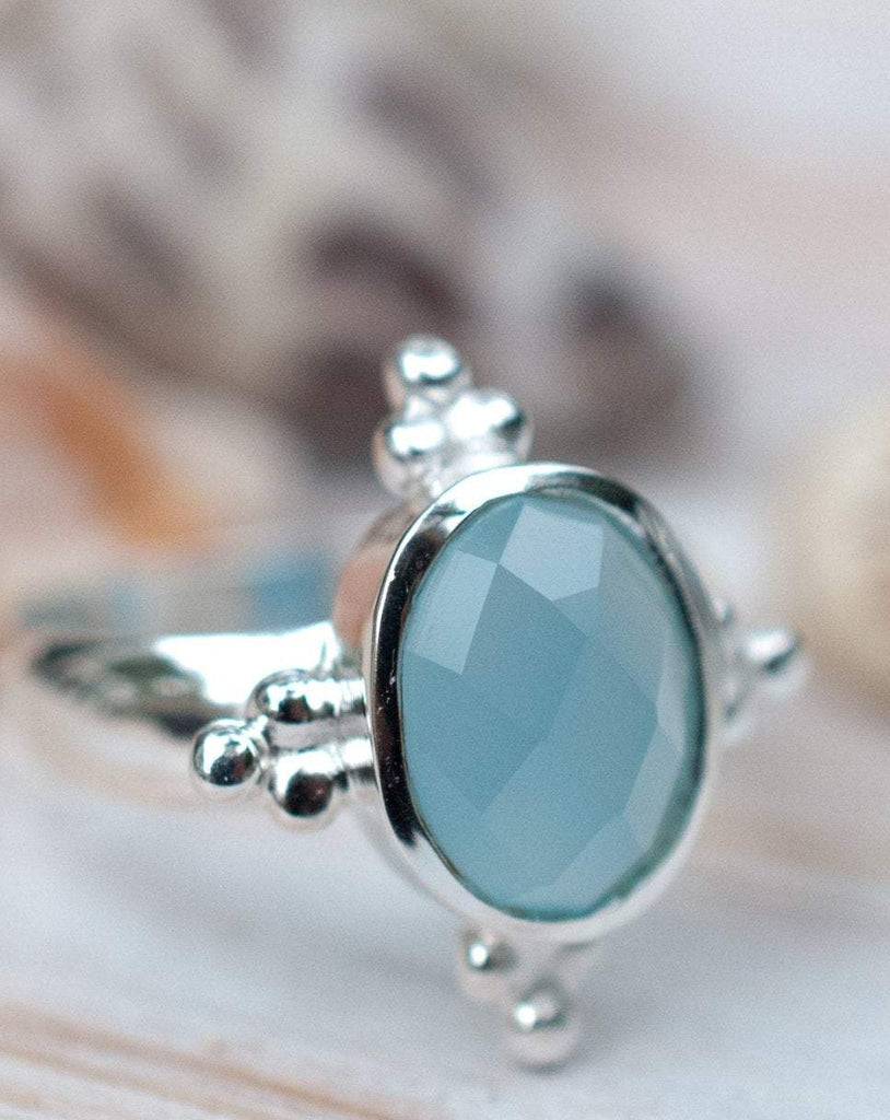 Blue Chalcedony Ring ~ Sterling Silver 925 ~ MR052 - Maresia Jewelry