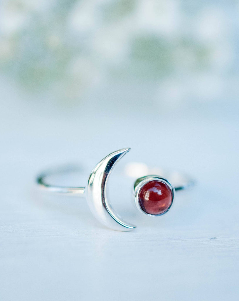Garnet Half Moon Ring ~ Sterling Silver 925 ~MR117 - Maresia Jewelry
