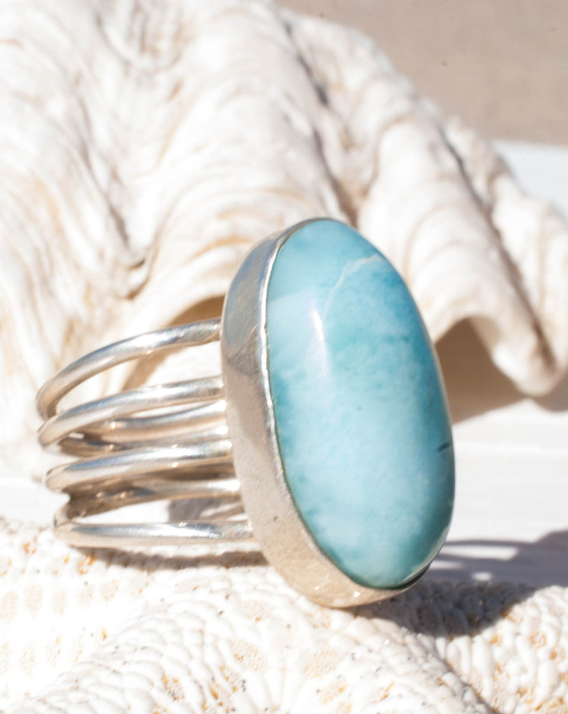 Larimar Ring ~ Sterling Silver 925~MR065 - Maresia Jewelry