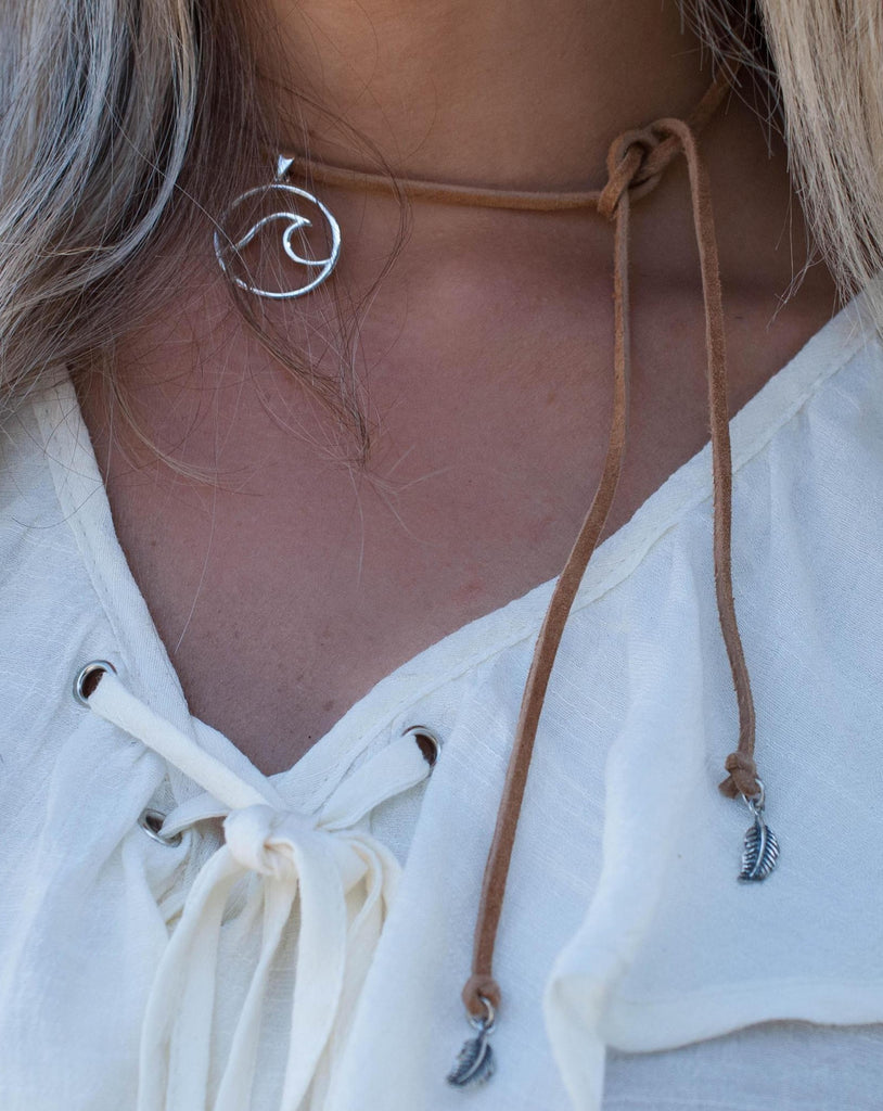 Wave Leather Choker ~ Sterling Silver 925 - Maresia Jewelry