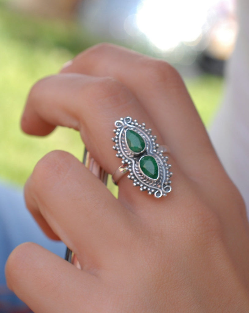 Emerald Ring ~ Sterling Silver 925 ~MR138 - Maresia Jewelry
