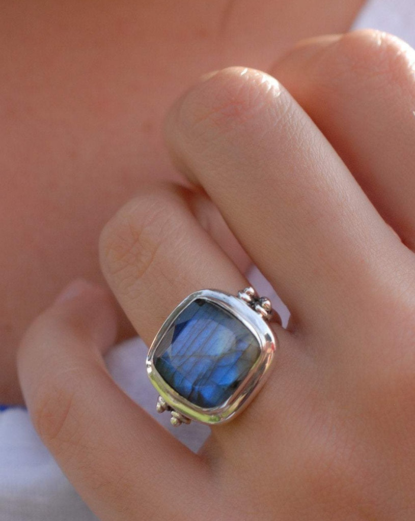 Alice Rainbow Labradorite  Square Ring ~Sterling Silver 925 ~ MR111 - Maresia Jewelry