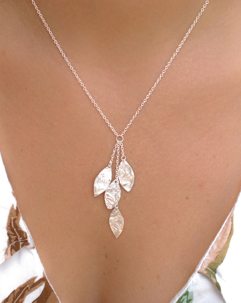 Leaf Y Necklace ~ Sterling Silver 925 ~ MN004 - Maresia Jewelry