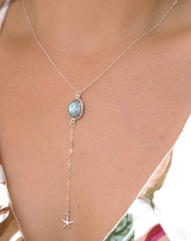 Labradorite Y Necklace ~ Sterling Silver 925 - Maresia Jewelry