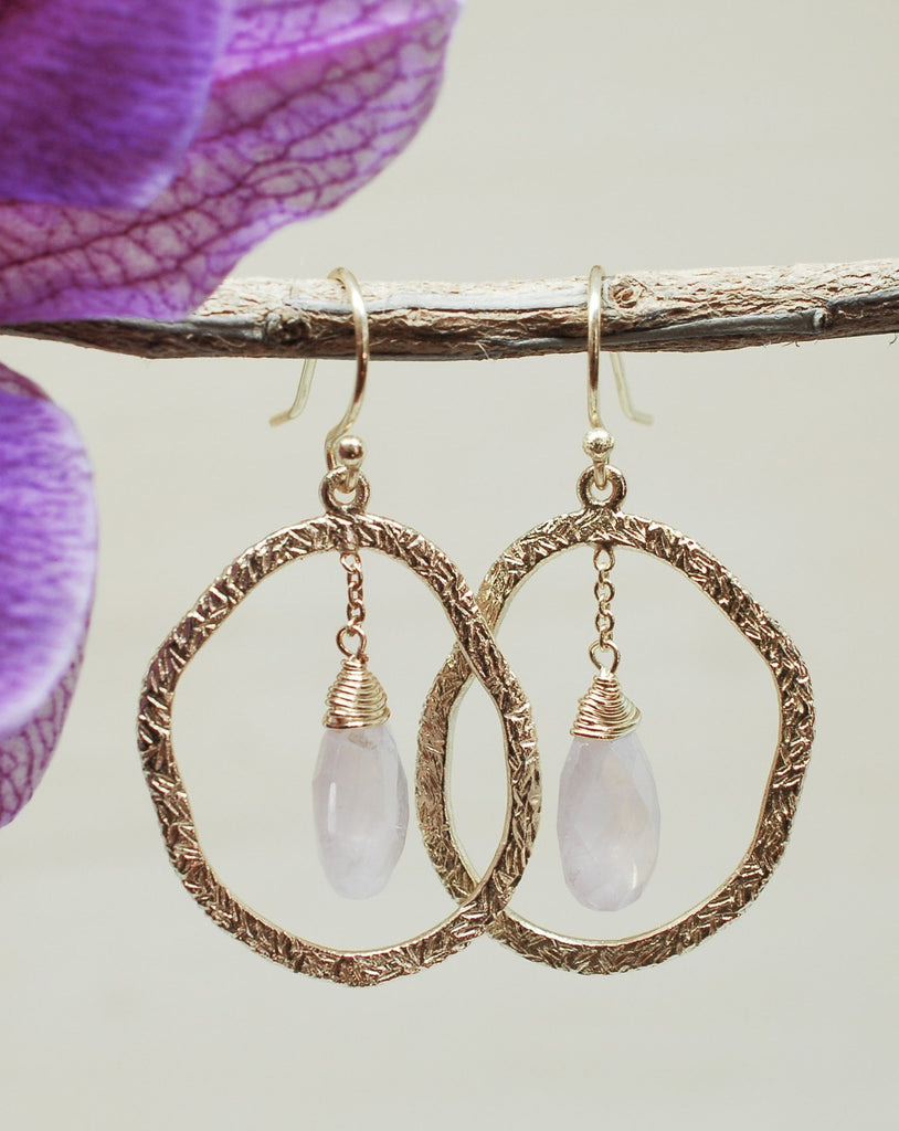 Rose Quartz Earrings ~18k Gold Plated~ ME021 - Maresia Jewelry