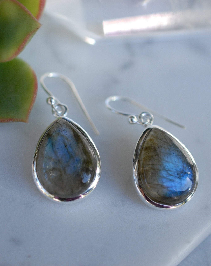 Labradorite Earrings ~ Sterling Silver 925 ~ME001 - Maresia Jewelry