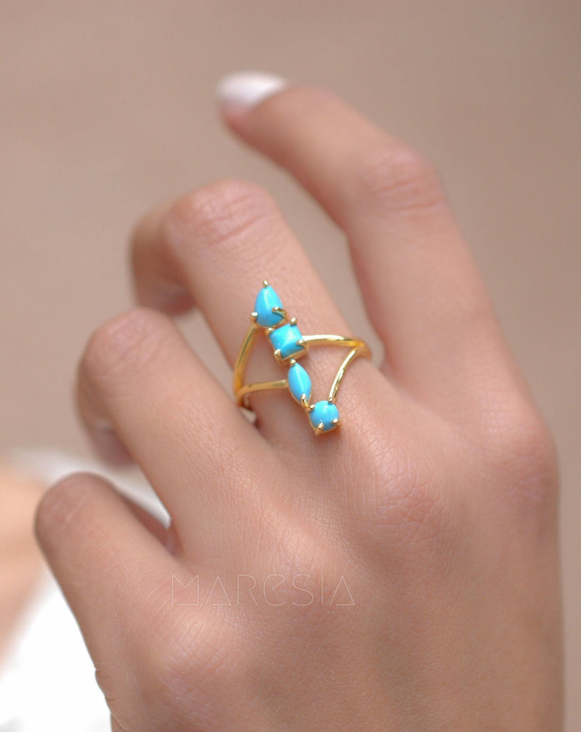 Turquoise Ring ~ 18k Gold Plated ~ MR025A - Maresia Jewelry