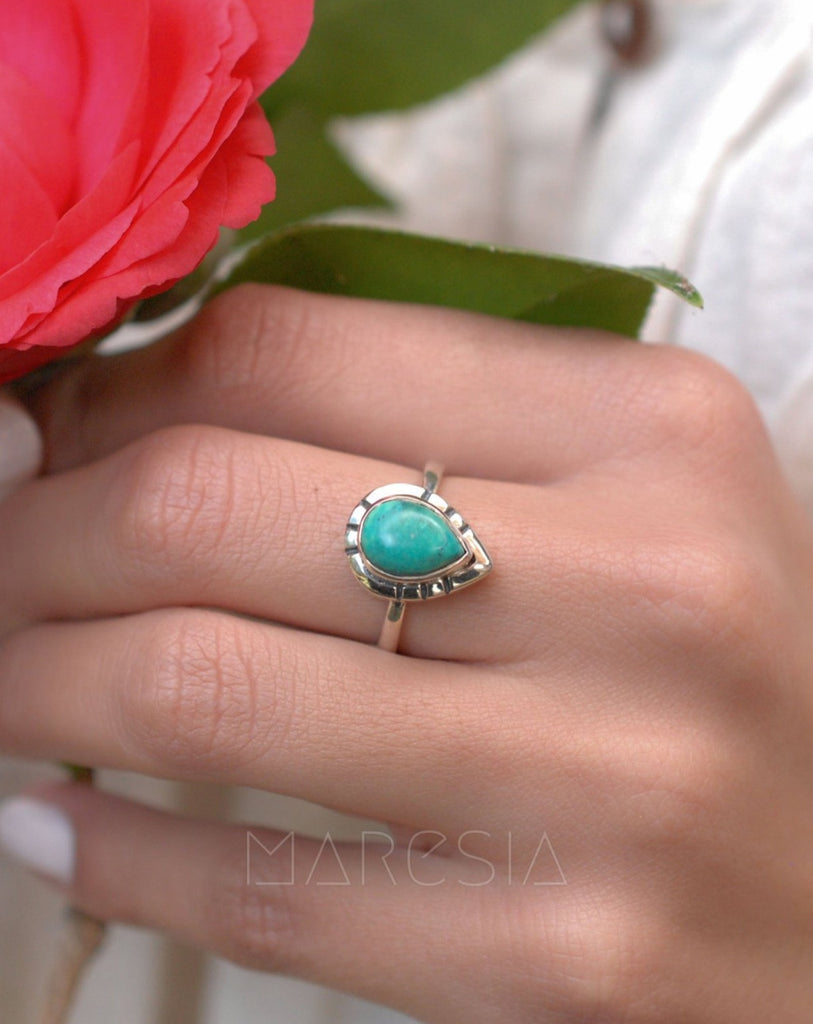 Turquoise Ring ~ Sterling Silver 925 ~MR008 - Maresia Jewelry