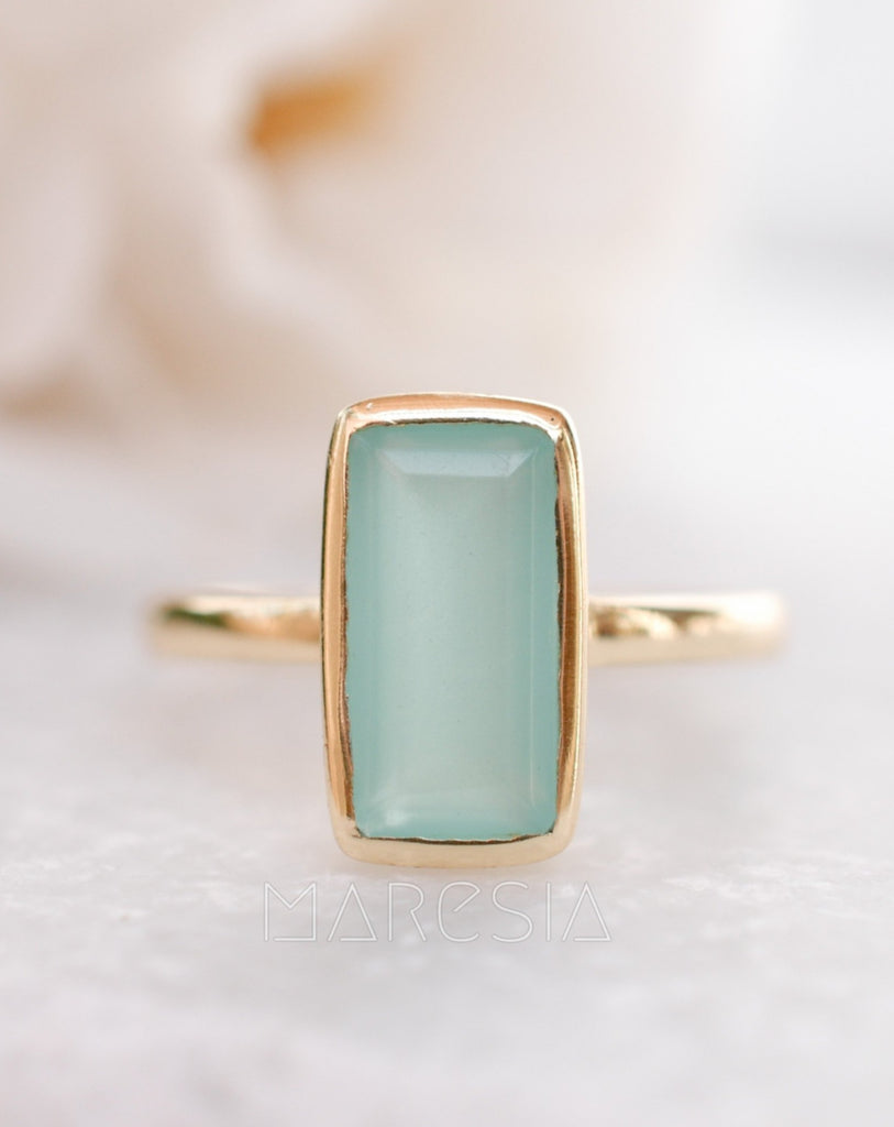 Aqua Chalcedony Gold Ring ~18k Gold Plated ~ MR014A - Maresia Jewelry