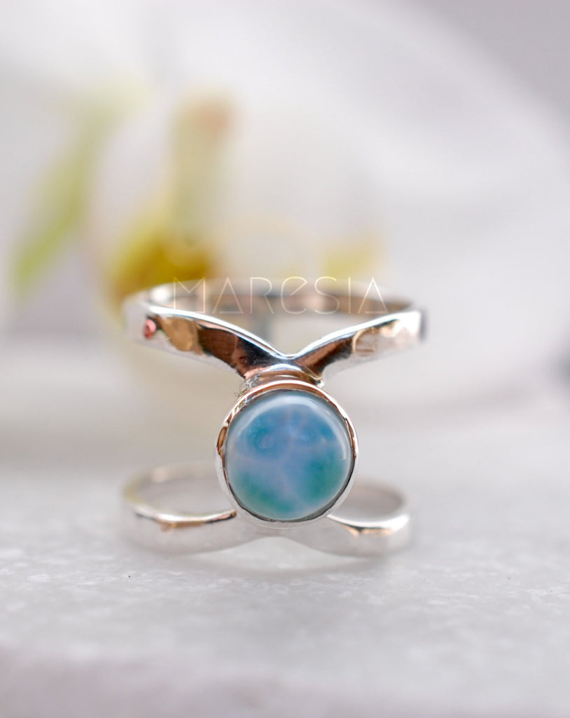 Larimar Double Band Ring ~ Sterling Silver 925 ~ MR007 - Maresia Jewelry