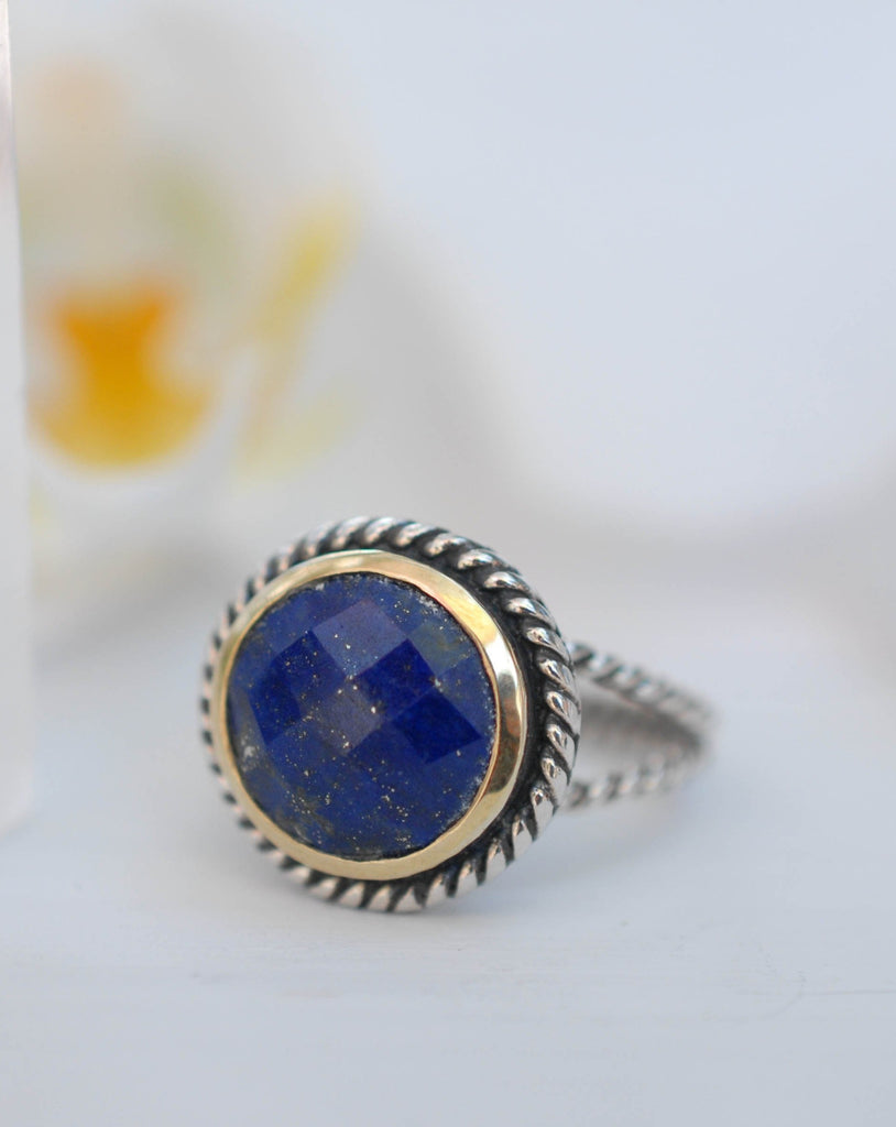 Lapis Lazuli Ring ~ Sterling Silver 925 and Gold Vermeil ~MR169 - Maresia Jewelry