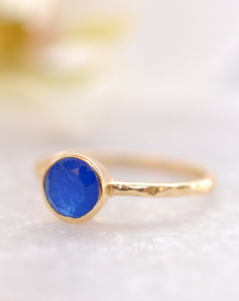 Blue Jade Ring  ~ Gold Plated ~ MR100A