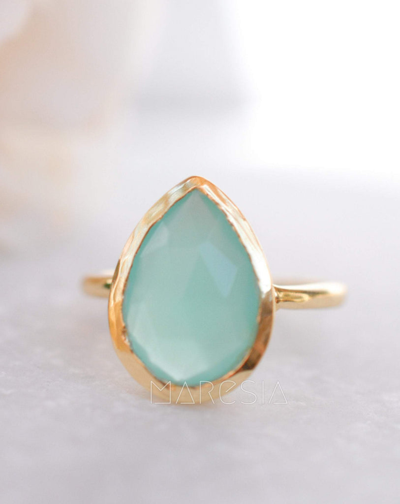 Lia Aqua Chalcedony Gold Ring ~ 18k Gold Plated ~MR028 - Maresia Jewelry