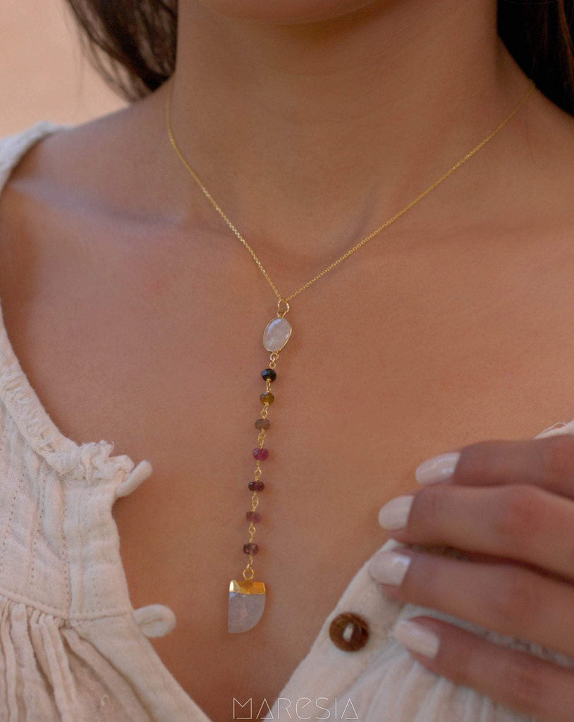 Moonstone & Tourmaline Y Necklace ~ Gold Vermeil - Maresia Jewelry