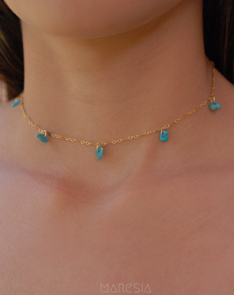 Turquoise Choker ~ Sterling Silver 925 or Gold Filled - Maresia Jewelry
