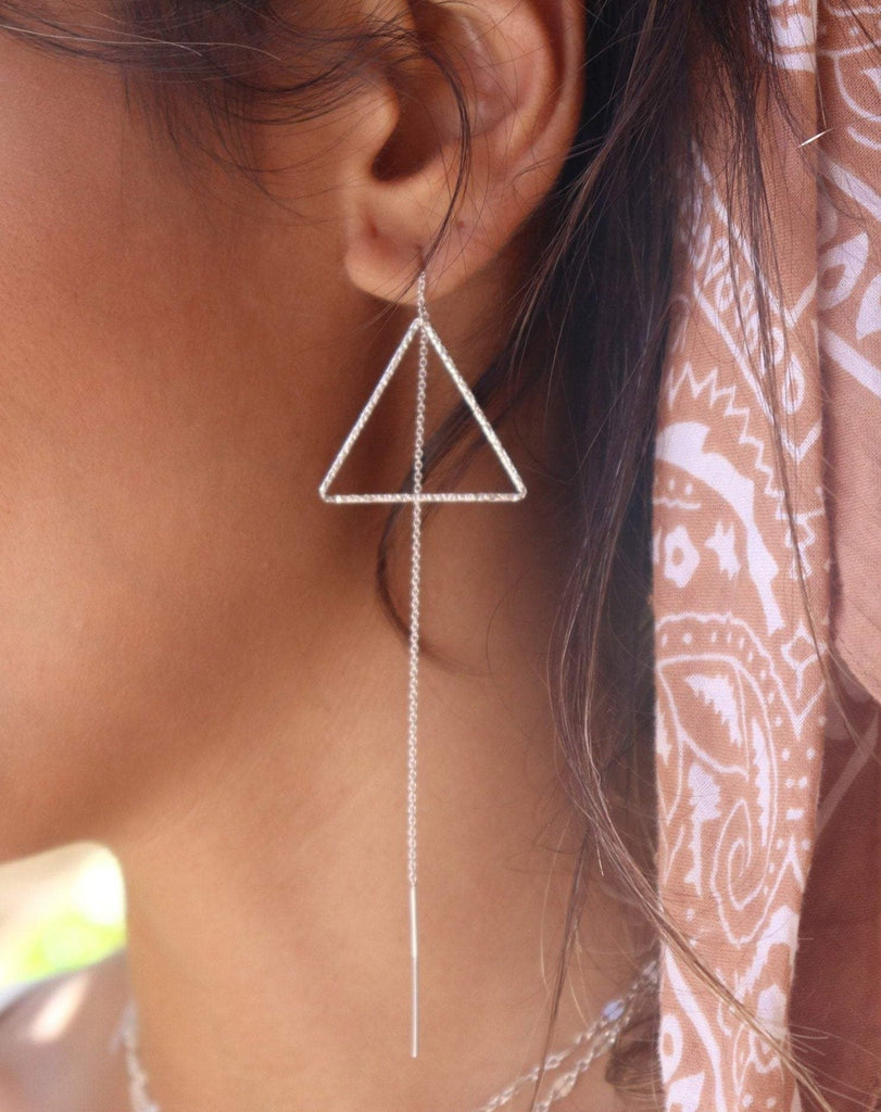 Threader Triangle Earrings ~  Sterling Silver 925  ~ ME029B - Maresia Jewelry