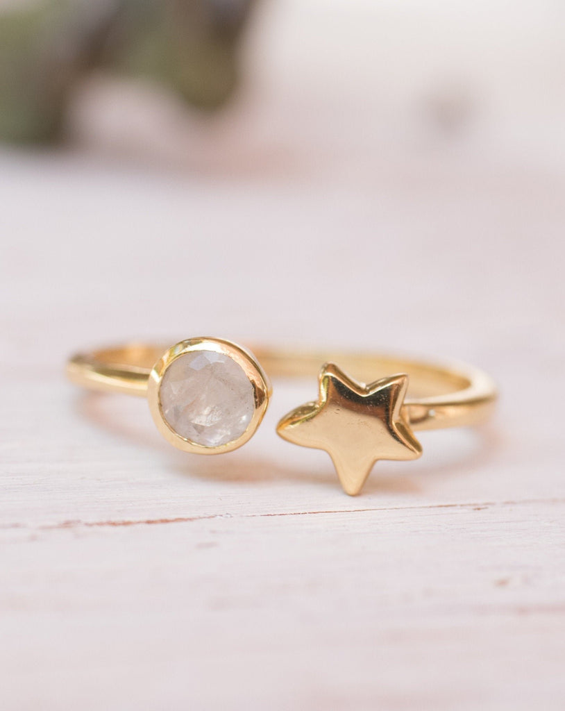 Star Rainbow Moonstone Ring ~ 18k Gold Plated ~  MR053 - Maresia Jewelry