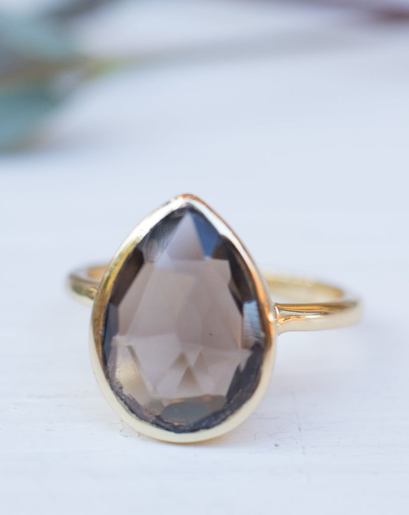 Lia Smoky Quartz Gold Ring ~ 18k Gold Plated~MR159 - Maresia Jewelry