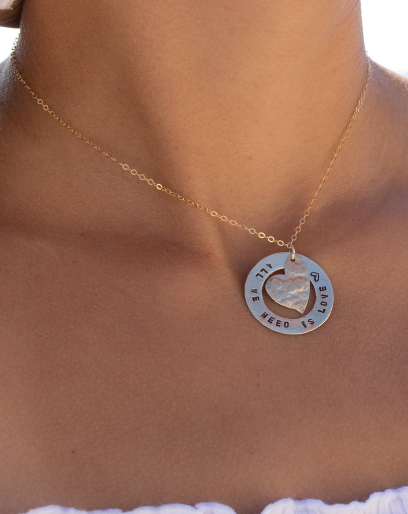 Hand Stamped Necklace ~ Sterling Silver 925 & Gold Filled - Maresia Jewelry