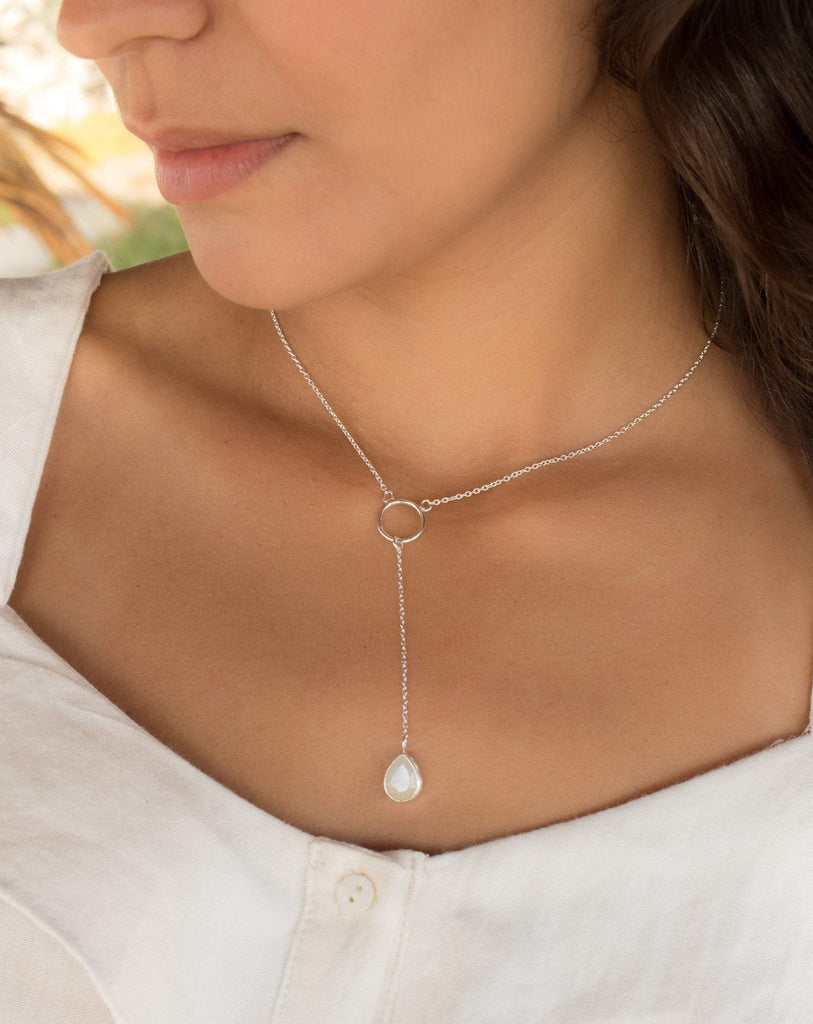 Moonstone Y Necklace ~ Sterling Silver 925 - Maresia Jewelry