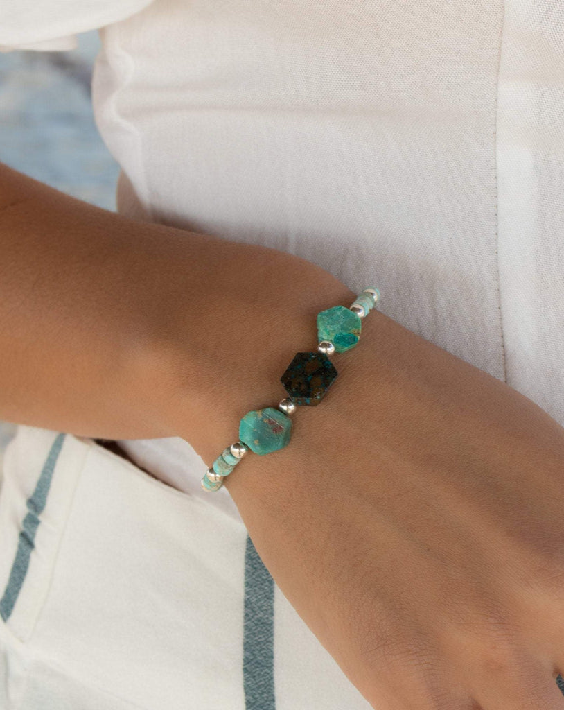 Rough Turquoise Bracelet ~ Gold Filled or Sterling Silver 925 - Maresia Jewelry