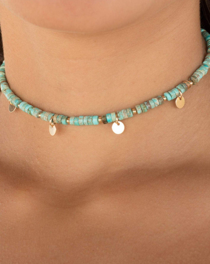 Turquoise Choker ~ Sterling Silver 925 or Gold Filled