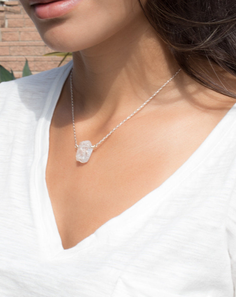 Crystal Quartz Necklace ~ Sterling Silver 925  or Gold Filled - Maresia Jewelry