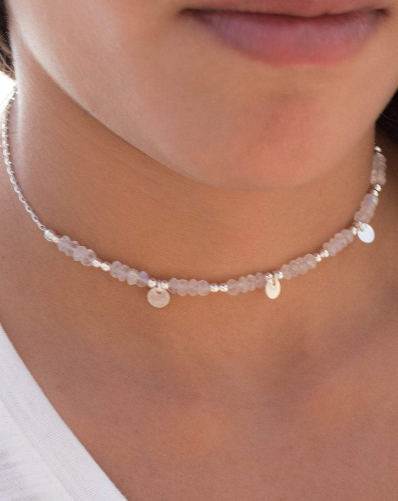 Moonstone Choker ~ Sterling Silver 925 or Gold Filled - Maresia Jewelry
