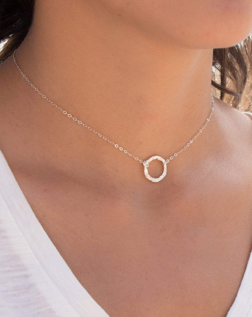Circle Necklace Choker ~Sterling Silver 925 - Maresia Jewelry
