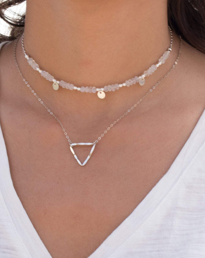 Triangle  Necklace Choker ~Sterling Silver 925 - Maresia Jewelry