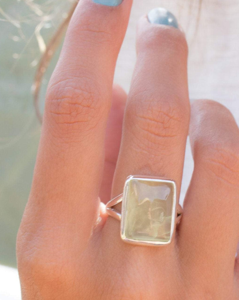 Prehnite Rectangular Ring  ~Sterling Silver 925 ~MR086 - Maresia Jewelry