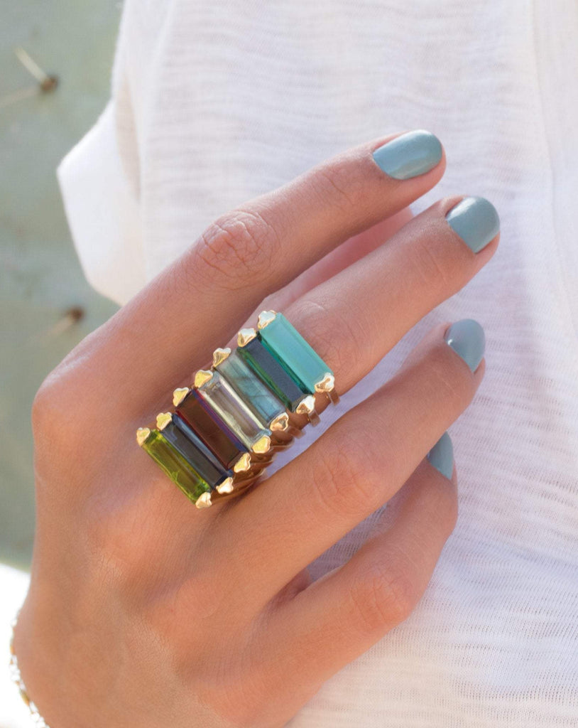Green Tourmaline Hydro Ring ~ 18k Gold Plated ~ MR164 - Maresia Jewelry