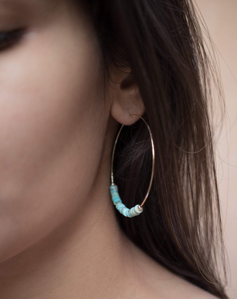 Turquoise Hoop Earrings ~ 14k Gold Filled or Sterling Silver ~ ME056 - Maresia Jewelry
