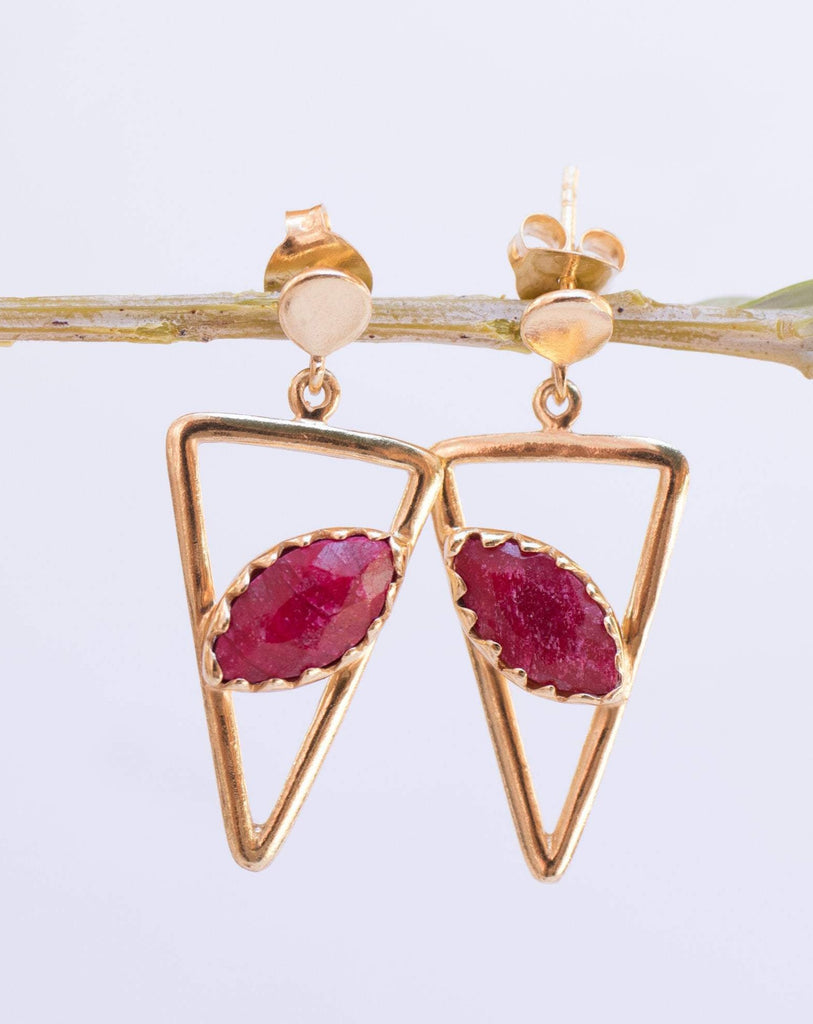 Aqua Chalcedony, Ruby, Blue Chalcedony, Rose quartz Triangle Earrings ~ Gold Vermeil (Gold Plated over Sterling Silver) ~ME061 - Maresia Jewelry