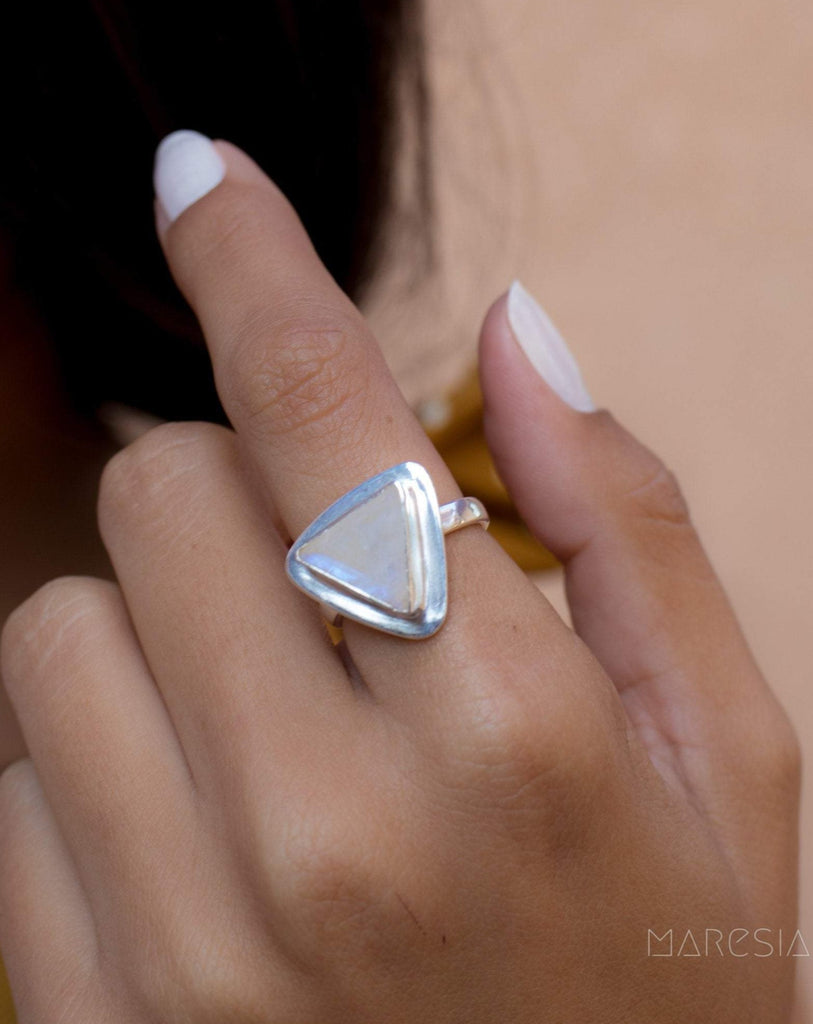 Moonstone Triangle Ring~Sterling Silver 925~MR158 - Maresia Jewelry