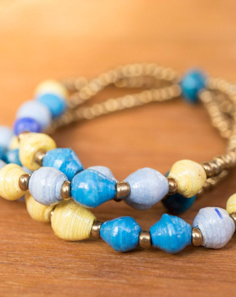 Blue and yellow Paper Beads Elastic Bracelet~ LB016