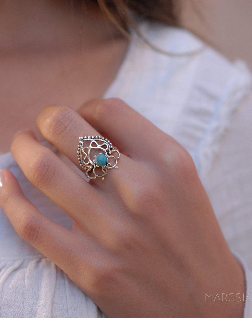 Turquoise Ring ~ Sterling Silver 925 ~ MR045 - Maresia Jewelry