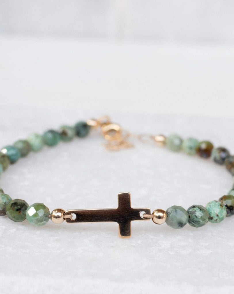 Green Jasper Bracelet ~ Gold Filled or Sterling Silver 925 ~ MB002 - Maresia Jewelry