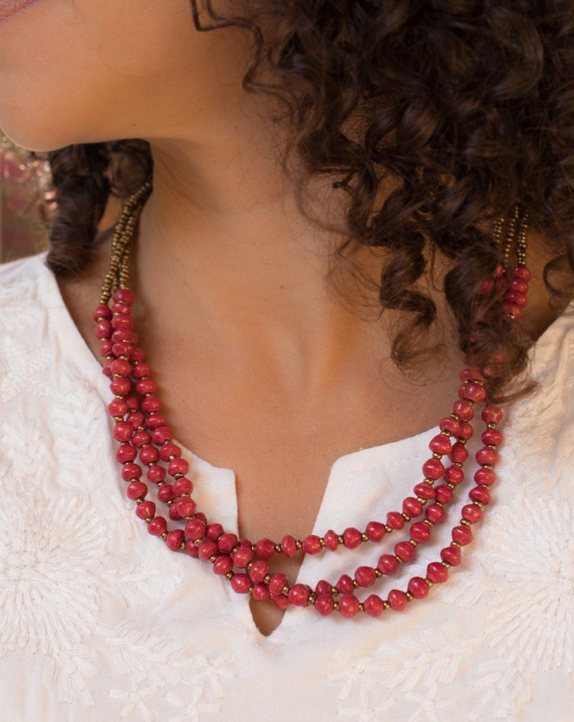 Red Paper Beads Necklace ~ LN024
