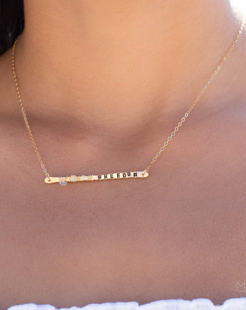 Hand Stamped Bar Necklace ~ Sterling Silver 925 & Gold Filled - Maresia Jewelry