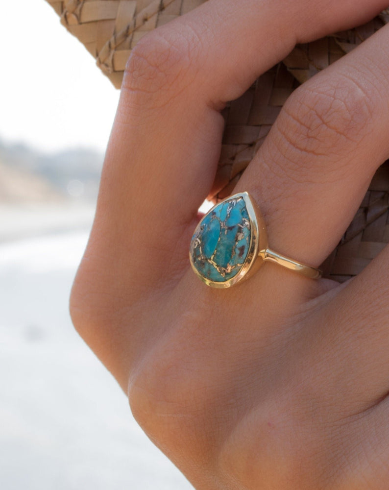 Lia Copper Turquoise Tear Drop Ring ~  18k Gold Plated ~ MR122A