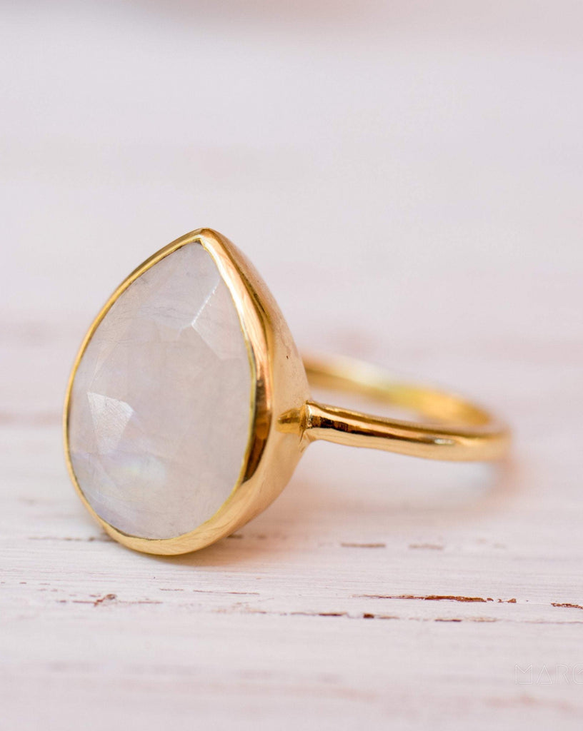 Lia Rainbow Moonstone Tear Drop Ring  ~ 18k Gold Plated ~  MR147 - Maresia Jewelry