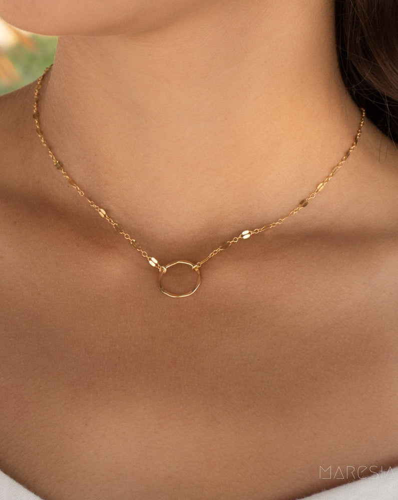 Circle Necklace Choker ~14k Gold Filled or Sterling Silver ~ MN005