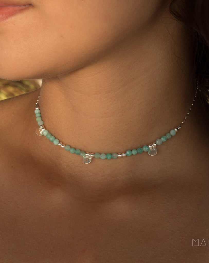 Amazonite Choker ~ Sterling Silver 925 or Gold Filled ~ MN020 - Maresia Jewelry