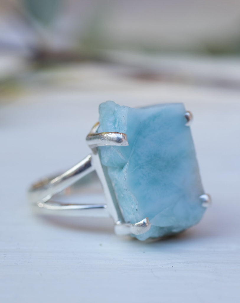 Slab Larimar Ring Large ~Sterling Silver 925~ MR078 - Maresia Jewelry