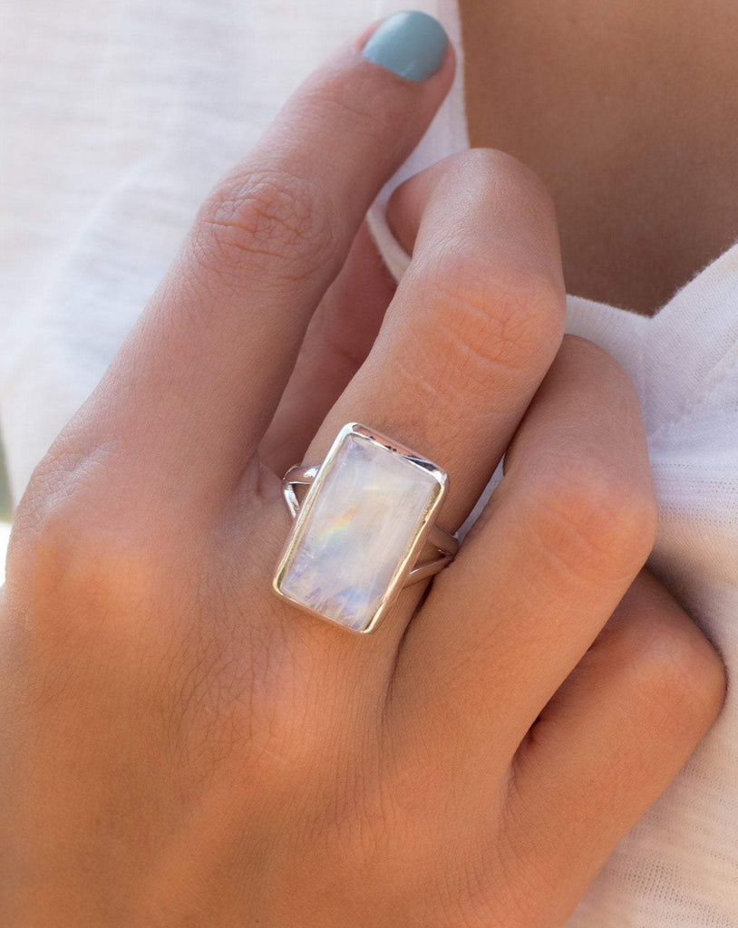 Moonstone Rectangular ~ Sterling Silver 925 ~ MR073 - Maresia Jewelry