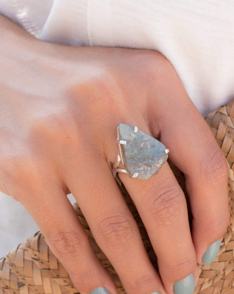 Rough Labradorite Ring ~ Sterling Silver 925 ~MR085 - Maresia Jewelry
