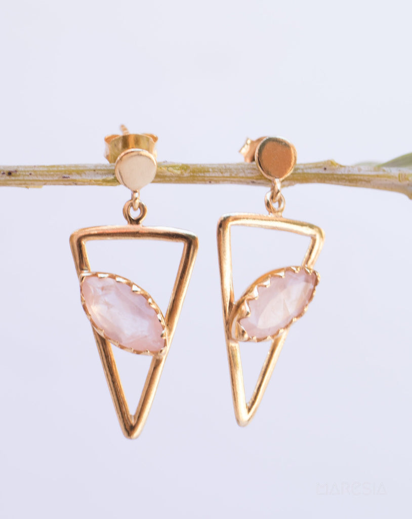 Aqua Chalcedony, Ruby, Blue Chalcedony, Rose quartz Triangle Earrings ~Gold Vermeil (Gold Plated over Sterling Silver)~ ME061 - Maresia Jewelry