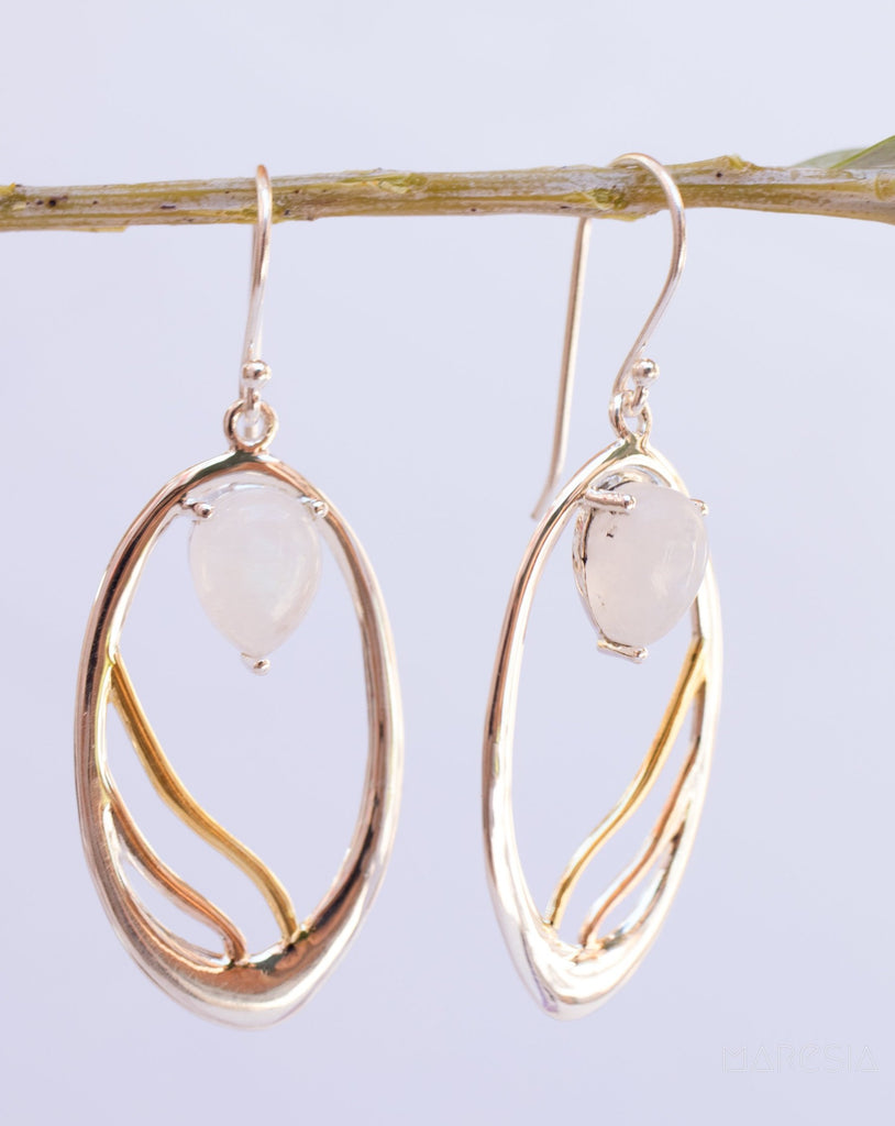 Moonstone Earrings ~ Sterling Silver 925 and Gold Vermeil ~ ME050 - Maresia Jewelry