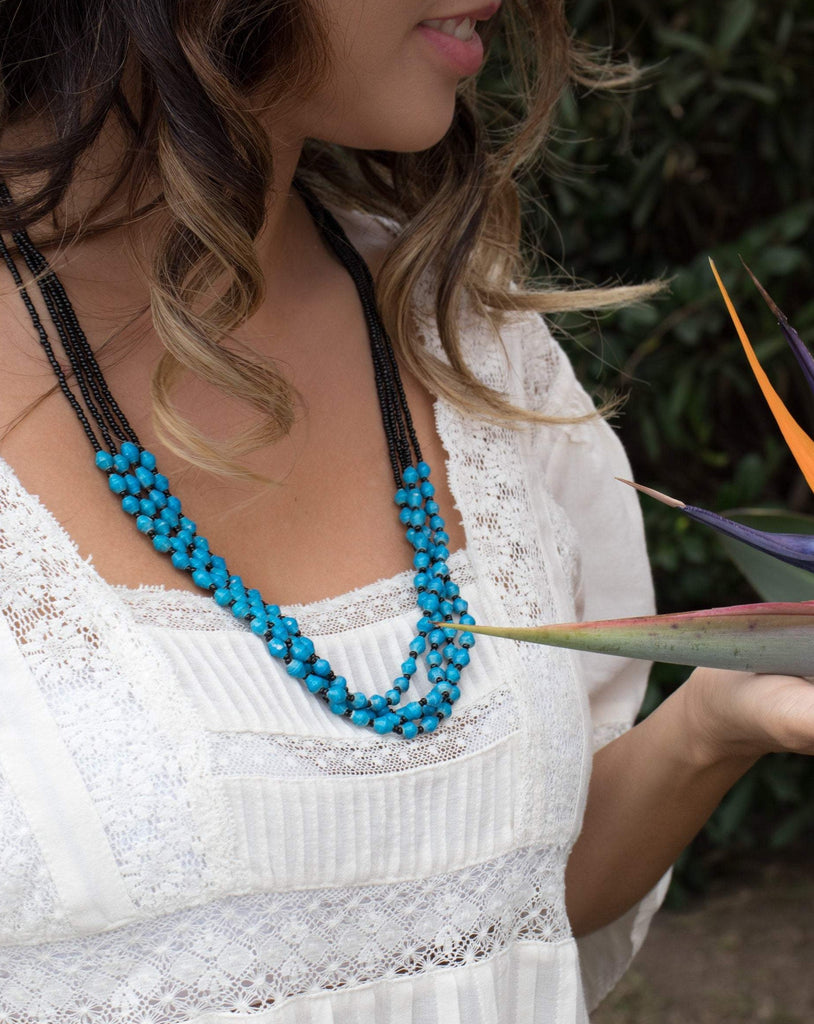 Blue Paper Beads and seed beads Necklace